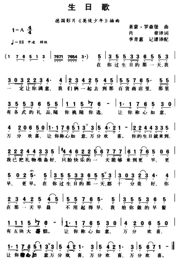 生日歌-曲谱歌谱大全-搜狐博客
