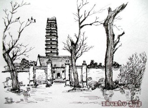 桂林风景手绘速写图片