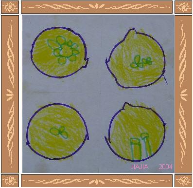 这是佳佳四岁那年中秋节,在幼儿园给我画的月饼.