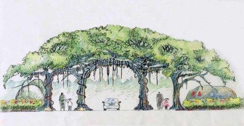 这是以前给青岛一野生动物园做的大门方案,想做成比较生态和自然的