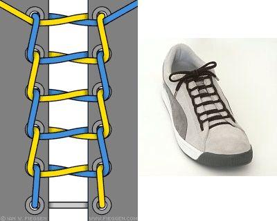 六孔花样系鞋带方法步骤图解