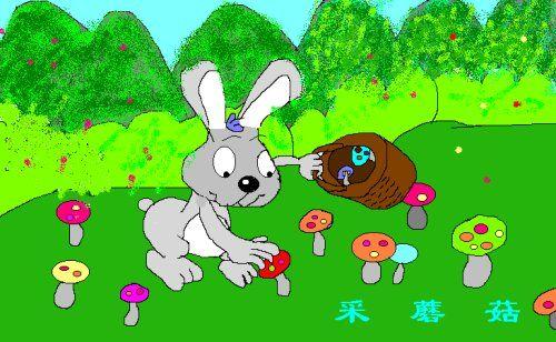 小兔子和兔妈妈准备去森林里采图片