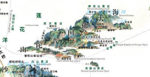 普陀山地图: 由来:二龟听法石位于磐陀石西,五十三参石下端的岩崖上.